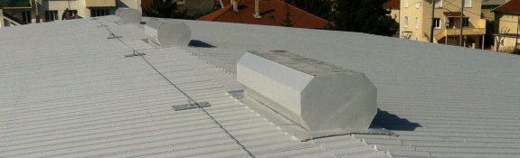 Rénovation de toiture de gymnase par projection de résine - Tain l'Hermitage - Drôme